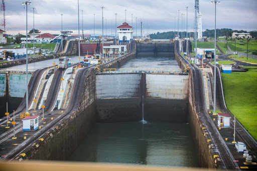 Looking forward to the second and third locks of the Panama Canal from the first lock.