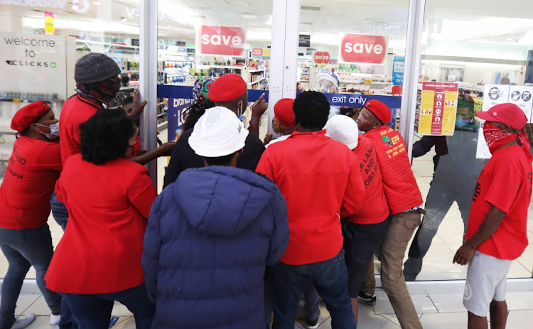 Staff at Clicks at N1 City in Cape Town were quick to close the doors when EFF members tried to force their way into the store.