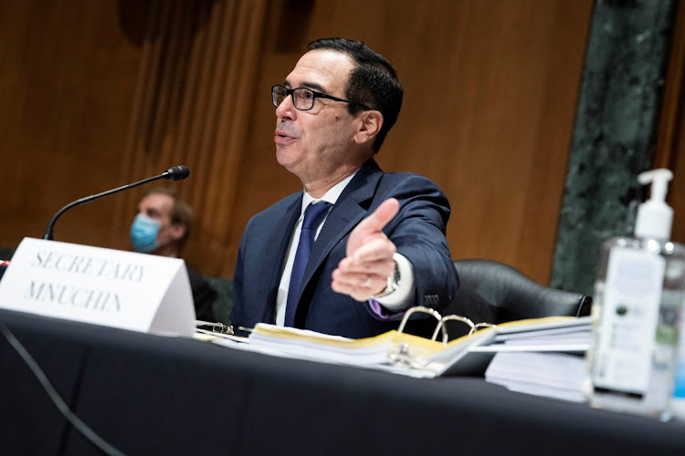 Treasury secretary Steven Mnuchin at Dirksen senate office building, in Washington, the US, December 10 2020. Picture: SARAH SIBIGER/REUTERS