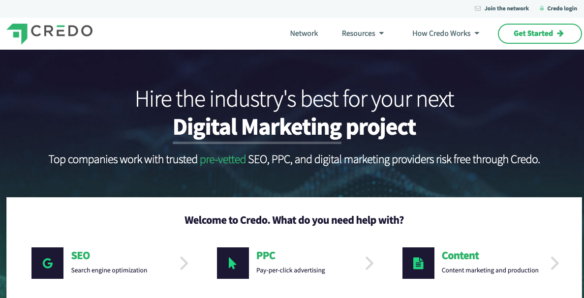 upwork alternative Screenshot of Credo home page