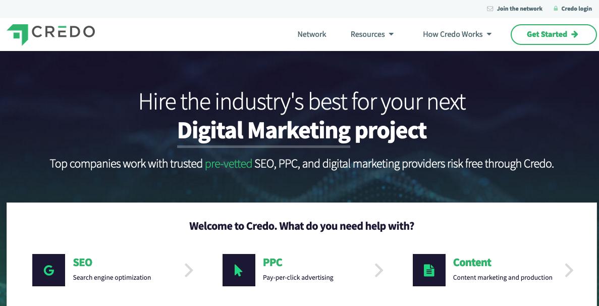upwork alternative Screenshot of Credo home page