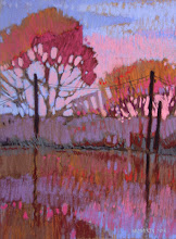 Photo: Delta Series, Pink and Blue, pastel by Nancy Roberts, copyright 2014. Private collection.