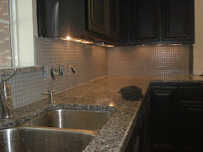 Photo: glass tile 1x1 as back splash