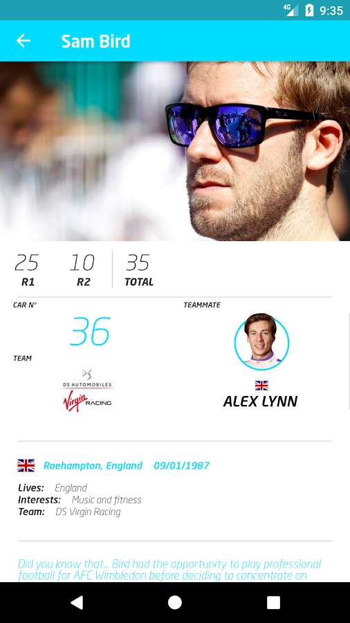 Formula E App- screenshot