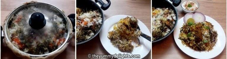 Place the biryani pot on a hot tawa and cooking the biryani on dum