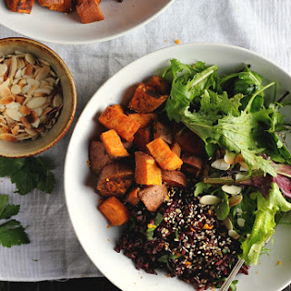 Spicy Roasted Sweet Potatoes with Fragrant Black Rice, Orange + Dates.