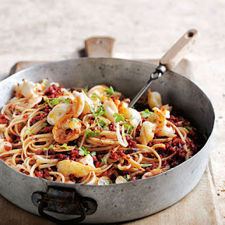 Chorizo And Garlic Prawn Pasta.
