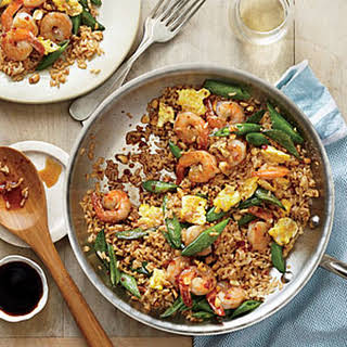 Quick Fried Brown Rice with Shrimp and Snap Peas.