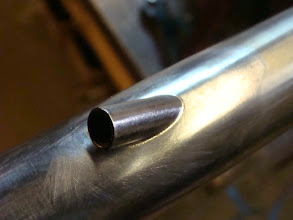 Photo: Super tight fitup on this stainless internal cable routing.  Since the top tube will be polished, I don't want to have big blobs of silver filling in gaps here.