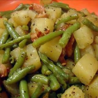 Crockpot Ham, Green Beans and Potatoes.