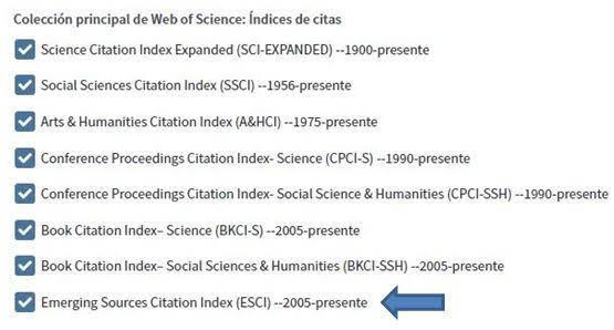 Menu web of science