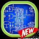 Electrical engineering plan design icon