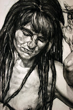 Photo: Titi's Wenches - detail of the drawing in charcoal, before the branches were installed.