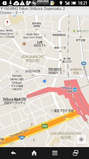 現在地の住所・緯度経度取得