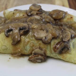 Paleo Chicken Crepes with Mushroom Gravy.