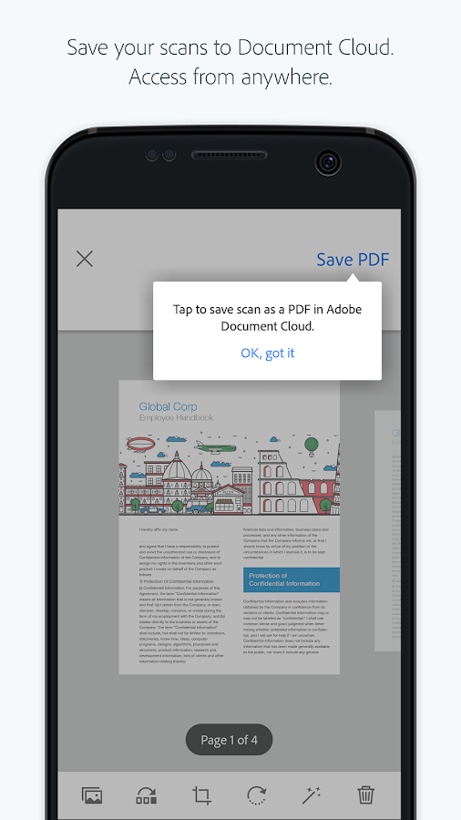 Turn scanned documents and images into PDF files