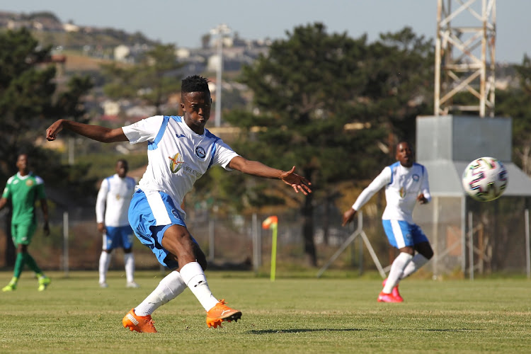 Lwandile Mabuya of Richards Bay takes a shot at goal during the GladAfrica Championship 2020/21 match between Cape Town All Stars and Richards Bay held at Parow Park in Cape Town on 6 April 2021.