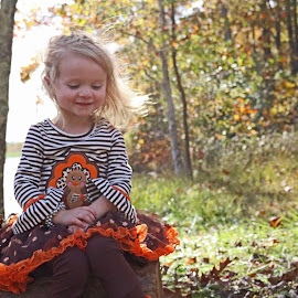 Karlie Fall Pose by Daryl Peck - Babies & Children Child Portraits ( children, little, leaf, kids, leaves, kid, child, sit, pose, sitting, girl, autumn, outdoor, fall, october )
