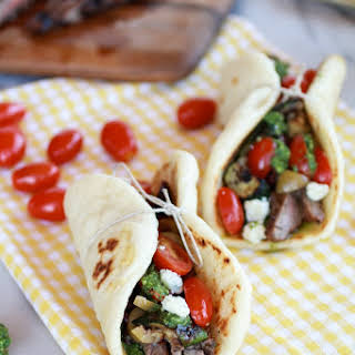Greek Steak and Pesto Salad Pitas.