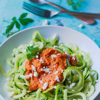 Low Carb Zoodles with Romesco Sauce.