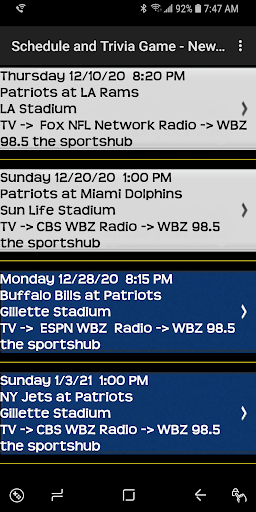 Schedule Trivia Game for New England Patriots Fans 134 screenshots 3