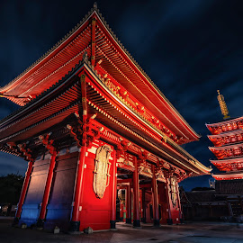 Sensoji is an ancient Buddhist temple at night in Asakusa, Tokyo, Japan.  by Nuttawut Uttamaharach - Buildings & Architecture Places of Worship ( capital, japan, city, senso-ji, twilight, building, red, tourist, beautiful, japanese, kannon, landmark, entrance, shinto, architecture, tower, zen, famous, historic, asakusa, old, night, asia, asian, buddhism, ancient, shrine, religion, tokyo, pagoda, blue, culture, wooden, buddhist, sunset, temple, gate, travel, senso, sensoji, worship )
