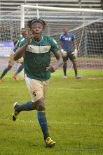 Photo: Mohamed 'Poborsky' Bangura celebrates as Leone Stars go 1:0  [Leone Stars Vs. Equatorial Guinea, 7 Sept 2013 (Pic: Darren McKinstry)]