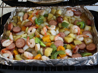 Grilled Shrimp And Sausage With Peppers And Onions Recipe