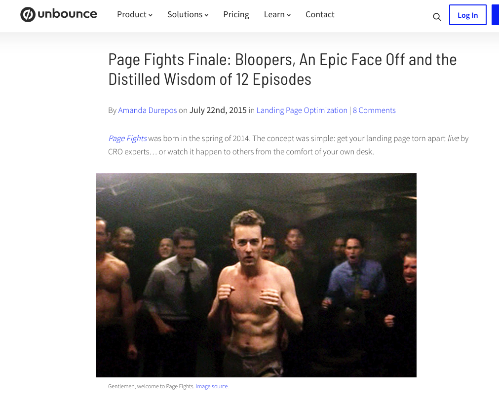 Unbounce's Page Fights campaign