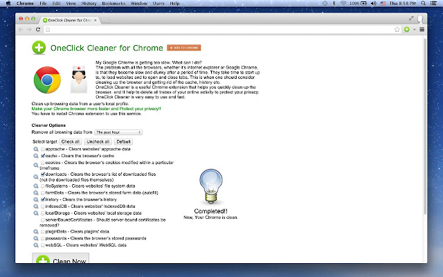 oneclick cleaner for chrome
