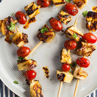 Grilled Halloumi-and-Tomato Skewers.