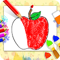 Drawing populer fruits for kids - drawing book icon