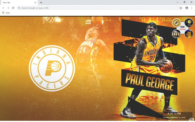 Indiana Pacers NBA New Tab Theme