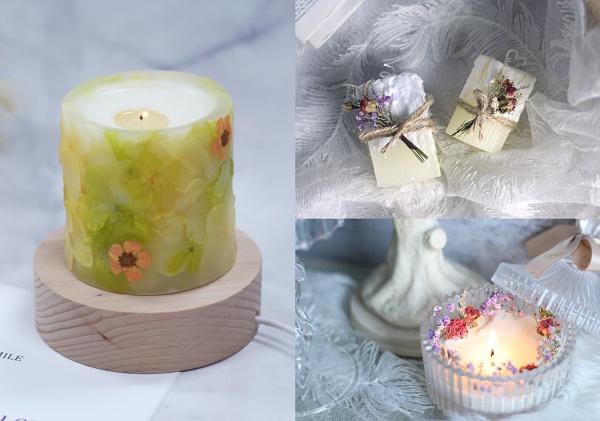 乾燥花DIY-乾燥花香氛蠟燭、乾燥花擴香石