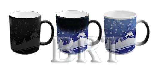 Photo: Новогодний сувенир - чашка с проявляющейся фотографией. Слева - холодная, справа - горячая кружка