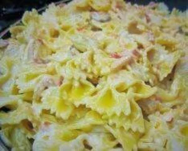 Farfalle Pasta With Grilled Chicken In A Asiago Cream Sauce.  The Cream Sauce Alone Is Worth It!