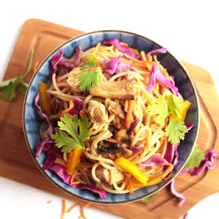 Chicken Chow Mein with Rainbow Vegetables.