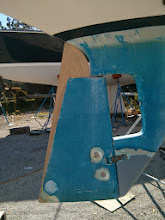 Photo: test fitting the rudder addition with the rudder centered