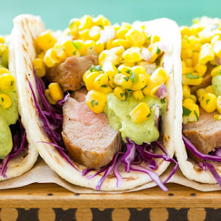 Pork Tenderloin Tacos with Corn Salsa.