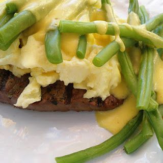 Steak & Eggs with Hollandaise Sauce.