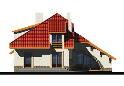 Wiera wersja A z pojedynczym garażem - Elewacja tylna