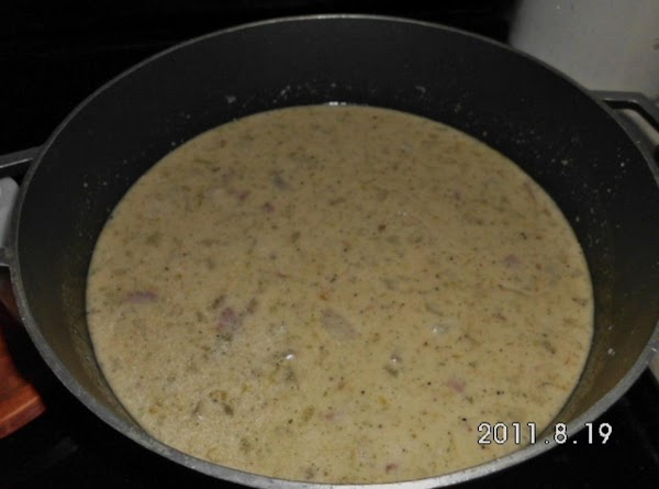 Add cool chicken stock, milk, and sour cream. Cover and simmer for about 30...