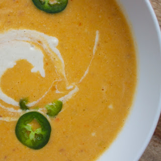 Creamy Poblano Chile and Red Pepper Soup.