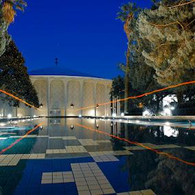 Beckman Auditorium by Jerzy Szablowski - Buildings & Architecture Public & Historical ( water, reflection, university, pool, california, white, caltech, night, architecture, glow, usa )
