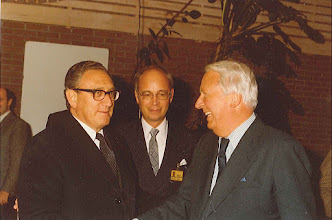 """Photo: DAVOS/SWITZERLAND, JAN 1980 - Henry Kissinger, former US Secretary of State; Klaus Schwab and Edward Heath, former Prime Minister, United Kingdom, at the European Management Symposium, the predecessor of the World Economic Forum in Davos in 1980. Copyright <a href=""""http://www.weforum.org"""">World Economic Forum</a> (<a href=""""http://www.weforum.org"""">http://www.weforum.org</a>)"""