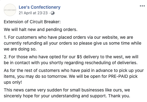Message from Lee's Confectionery about the extended circuit breaker.