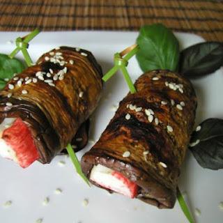 Grilled Eggplant & Surimi Rolls