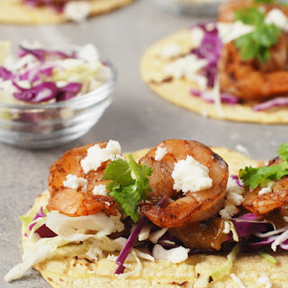 Five Spice Shrimp Tacos with Rhubarb Ginger Sauce.