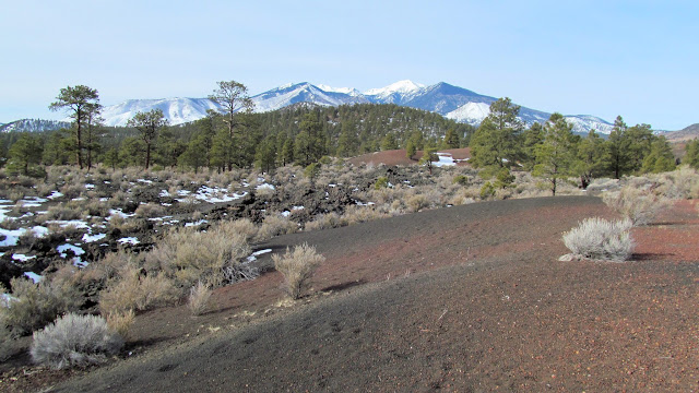 San Francisco Mountain beyond Sunset Crater National Monument