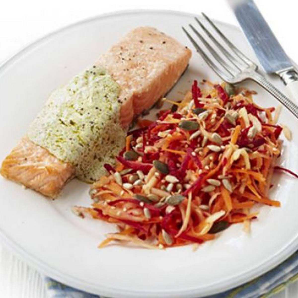 Roast Salmon  gone Pesto Sauce & Beetroot Slaw